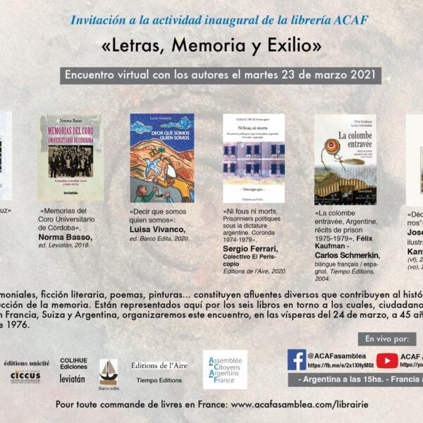 Encuentro   Letras, memoria y exilio