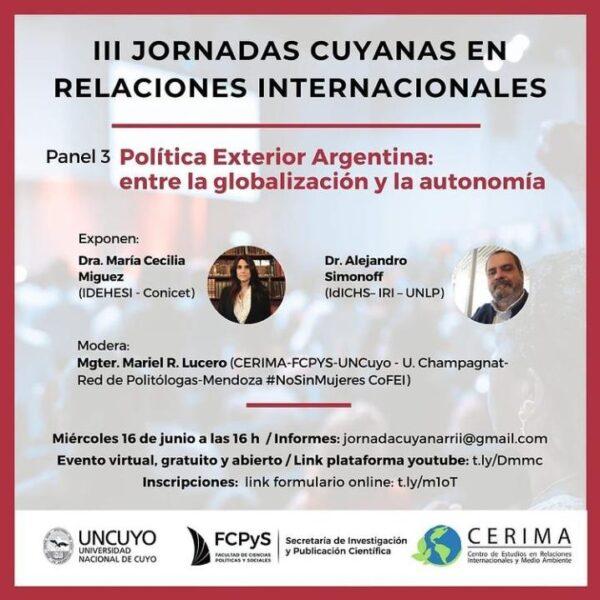 III Jornadas Cuyanas de Relaciones Internacionales